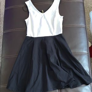 Black and white Cynthia Rowley color block dress